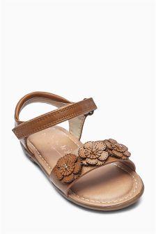 Flower Embellished Sandals (Younger Girls)