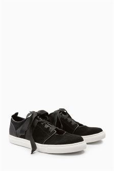 Black Leather Open Front Balletic Trainers
