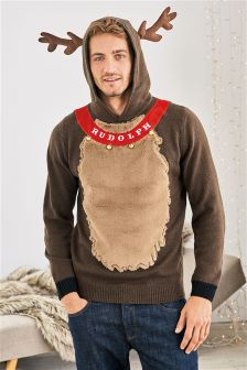 Brown Rudolph Christmas Hooded Jumper
