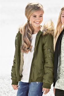 Khaki Faux Fur Trim Hooded Bomber (3-16yrs)
