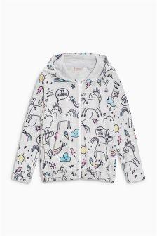 Grey Unicorn Printed Fleece Zip Through (3-16yrs)