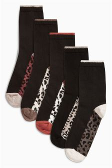 Black Animal Mix Footbed Ankle Socks Five Pack