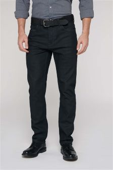 Coated Raw Denim Belted Jeans With Stretch