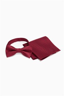 Silk Bow Tie And Pocket Square Set