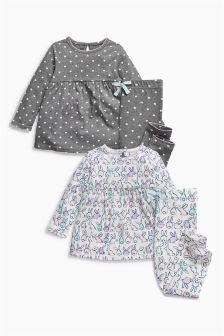 Lilac/Grey Bunny And Heart Print Legging Pyjamas Two Pack (9mths-8yrs)