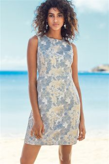 Silver Jacquard Dress