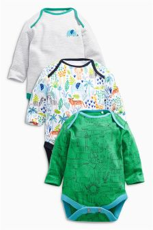 Bright Safari All Over Print Long Sleeve Bodysuits Three Pack (0mths-2yrs)