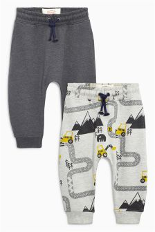 Grey/Ecru Road Map Printed Joggers Two Pack (3mths-6yrs)