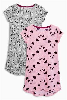 Pink/Grey Panda Nighties Two Pack (3-16yrs)
