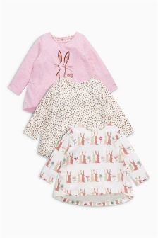 Pink Bunny Print T-Shirts Three Pack (0mths-2yrs)