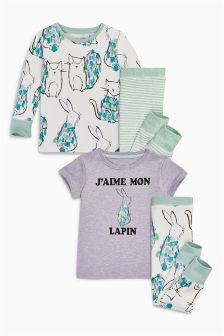Lilac/Ecru Bunny Print Pyjamas Two Pack (9mths-8yrs)
