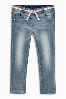 Mid Blue Belted Skinny Jeans (3mths-6yrs)