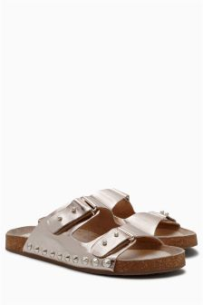 Gold Leather Stud Footbed Sandals