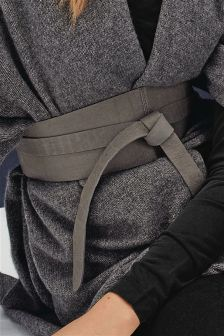 Grey Leather Tie Waist Belt