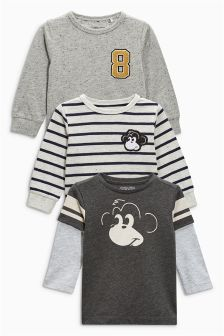 Grey Long Sleeve Monkey T-Shirts Three Pack (3mths-6yrs)