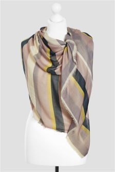 Cream Stripe Scarf