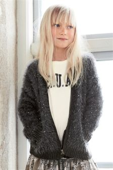 Grey Sequin Fluffy Bomber Jacket (3-16yrs)