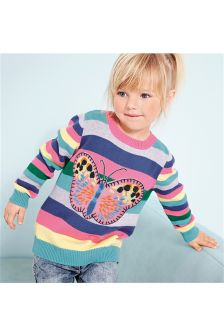 Multi Butterfly Appliqué Jumper (3mths-6yrs)