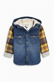 Jersey Denim Check Sleeves Shacket (3mths-6yrs)