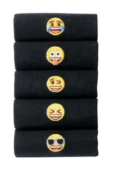 Black Emoji Embroidery Socks Five Pack