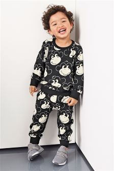 Black and White Monkey All Over Print Skinny Fit Joggers (3mths-6yrs)