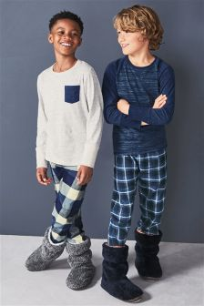 Blue Woven Check Pyjamas Two Pack (3-16yrs)