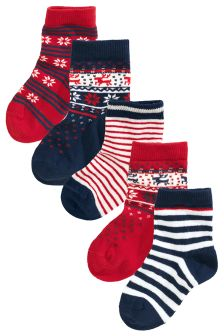 Red Fairisle Pattern Socks Five Pack (Younger Boys)