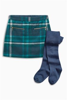 Teal Check Skirt With Tights (3-16yrs)