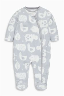 Grey Animal Print Fleece Sleepsuit (0-18mths)