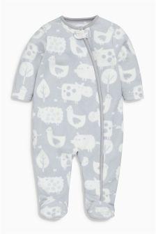 Grey Animal Print Fleece Sleepsuit (0-18mths)