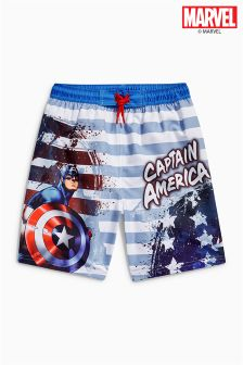 Blue/Red Captain America Swim Shorts (3-12yrs)