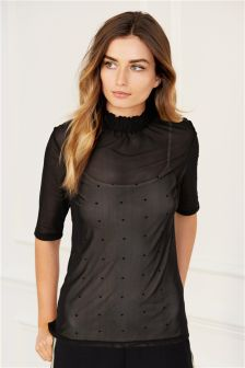 Black Mesh Layer Top