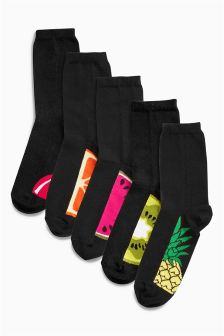 Black Fruits Footbed Ankle Socks Five Pack