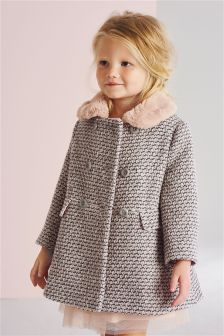Pink Faux Fur Collar Coat (12mths-6yrs)