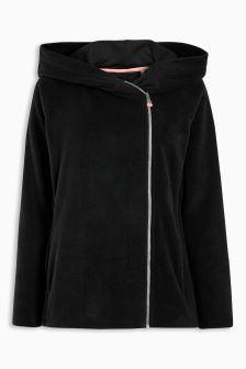 Black Aysymmetric Technical Fleece