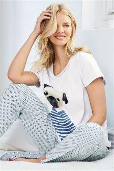 Grey Printed Jersey Pyjamas