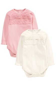 Ecru/Pink Lace Trim Bodies 2 Pack (0mths-2yrs)