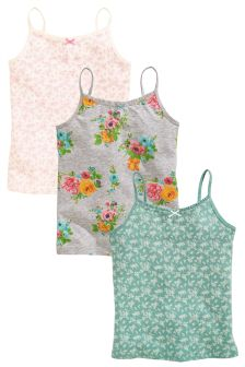 Pink/Green Floral Ditsy Camis Three Pack (3-16yrs)