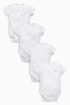 White Delicate Sheep Short Sleeve Bodysuits Four Pack (0mths-3yrs)