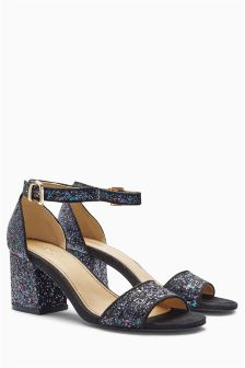 Navy Glitter Low Block Heel Sandals