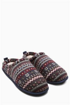 Brown Fairisle Pattern Mule