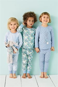 Blue Bunny Appliqué Pyjamas Three Pack (9mths-8yrs)