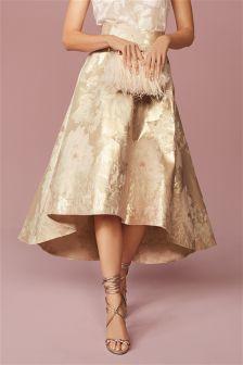 Pink Floral Jacquard Full Skirt