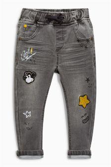 Grey Badged Jeans (3mths-6yrs)