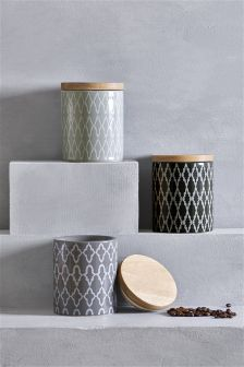 Set Of 3 Geo Storage Jars