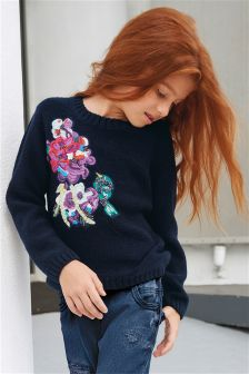 Navy Embroidered Sweater (3-16yrs)