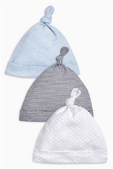 Blue Tie Top Hats Three Pack (0-18mths)