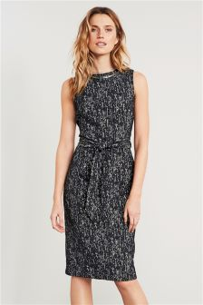Charcoal Textured Tie Waist Dress