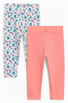 Ditsy Floral/Fluro Pink Leggings Two Pack (3mths-6yrs)