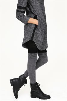 Grey Over The Knee Sock Tights